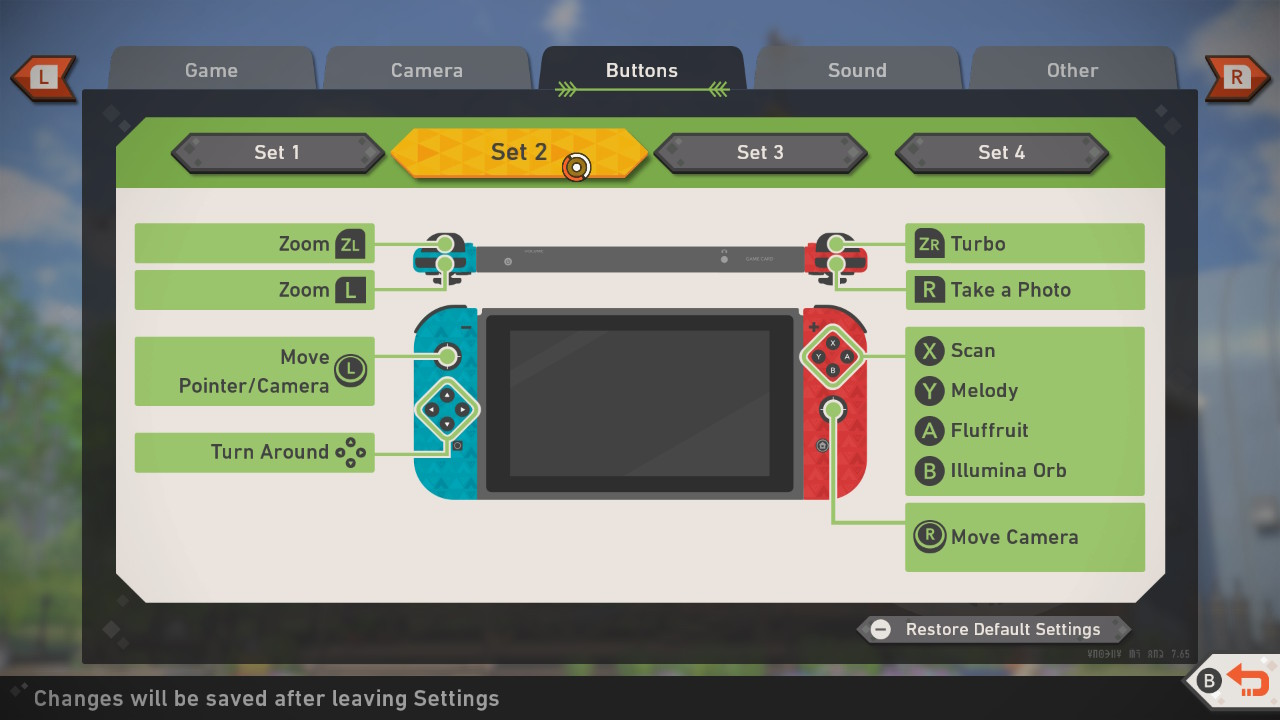 Screenshot of Set 2 button mappings.