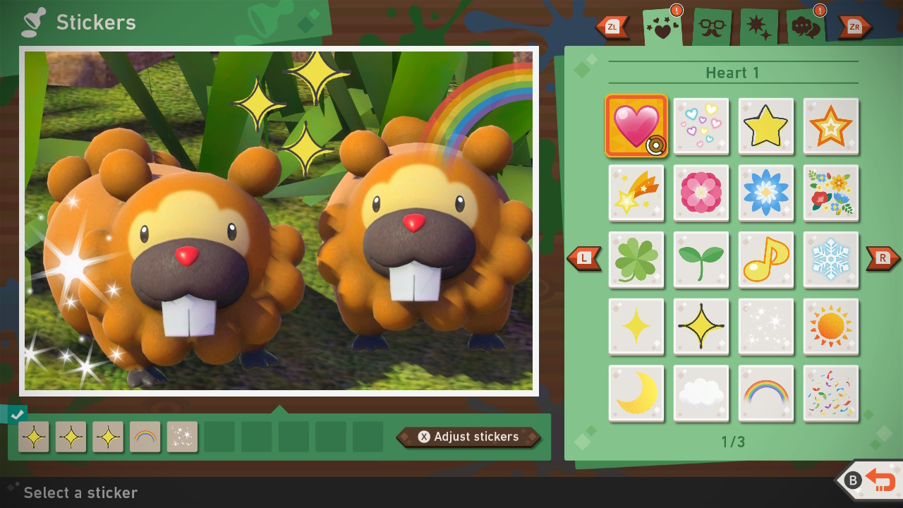 Screenshot of the sticker placement options.