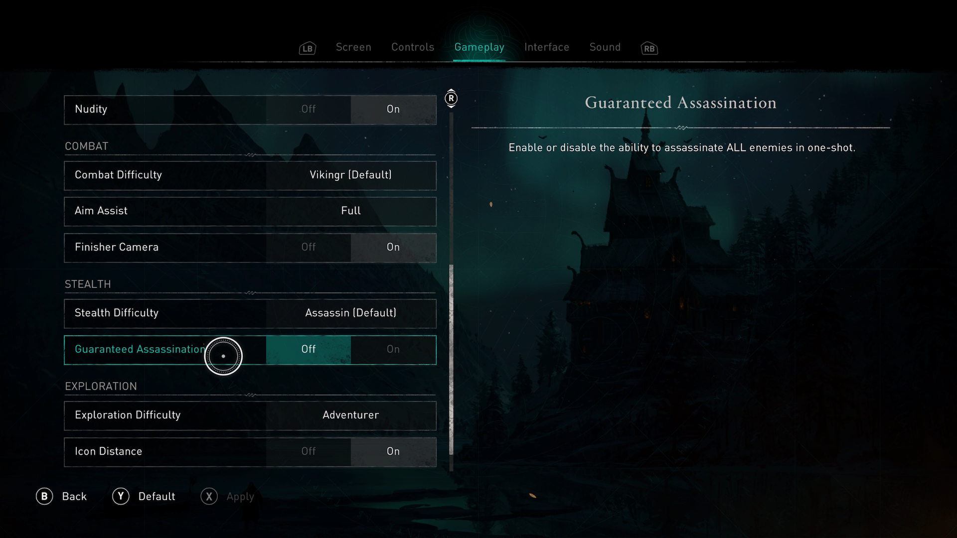 A screenshot showing the Guaranteed Assassination options in Assassins Creed Valhalla.