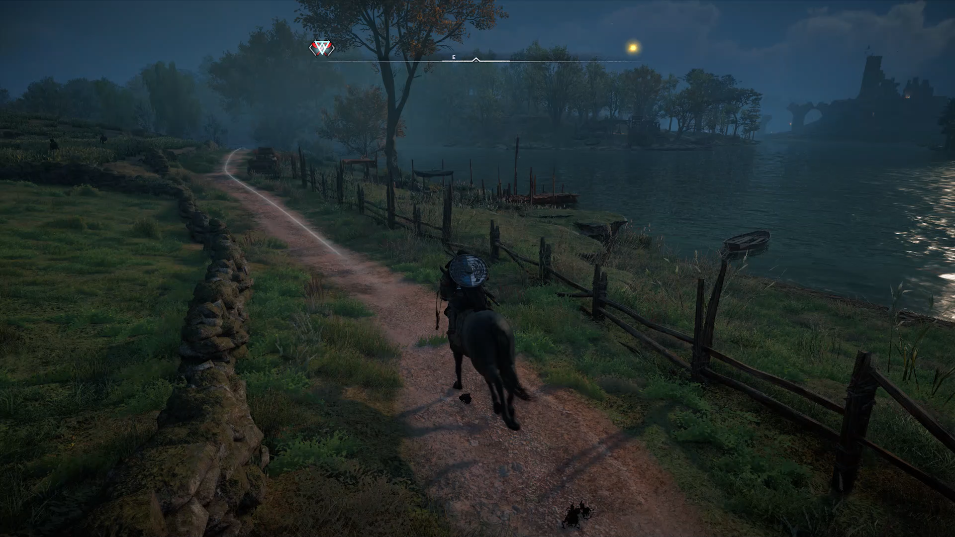 A screenshot showing automatic horse riding in Assassins Creed Valhalla.