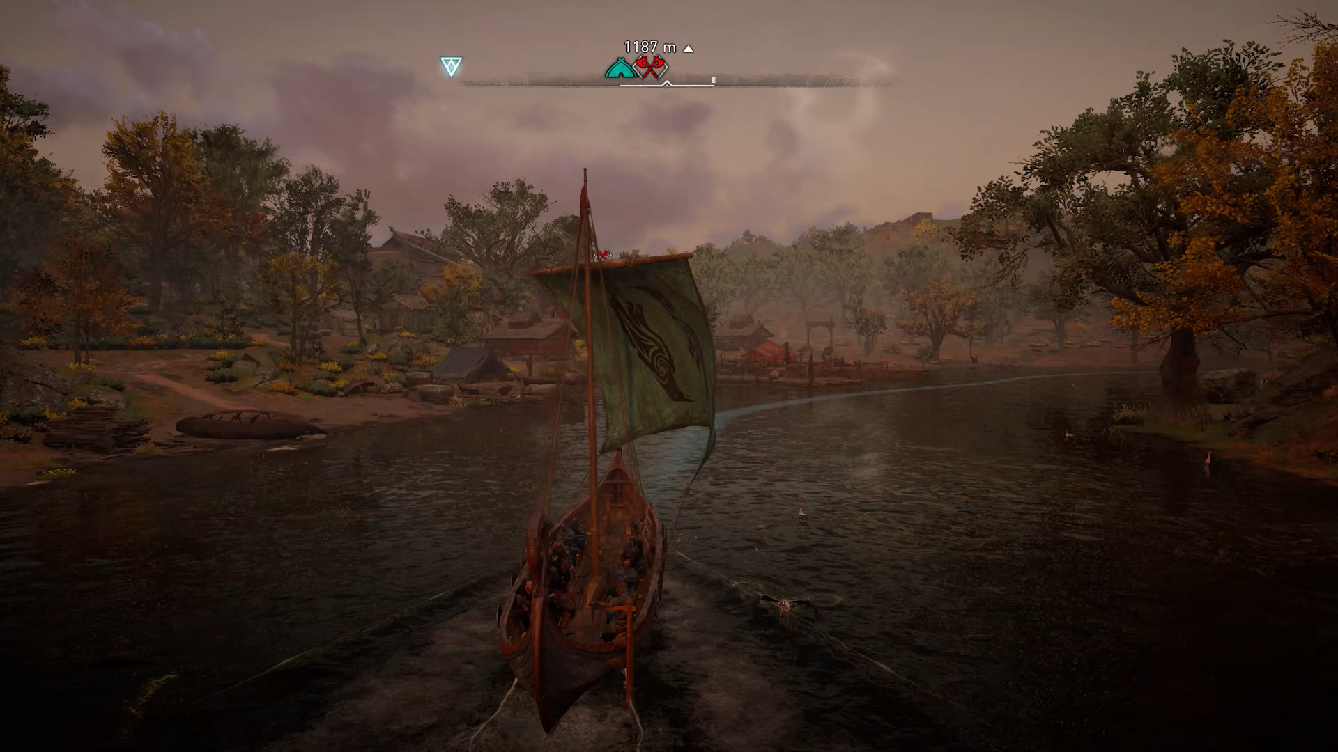 A screenshot showing automatic sailing in Assassins Creed Valhalla.
