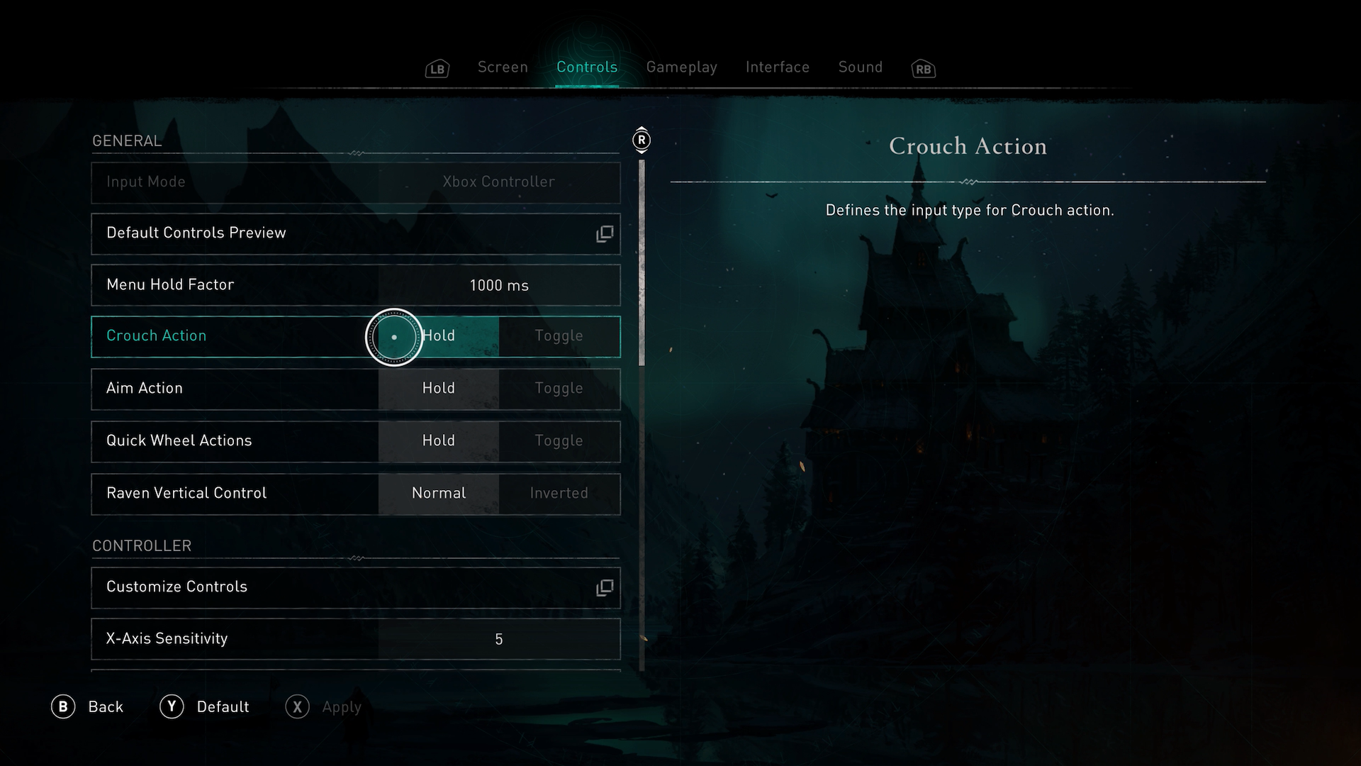 A screenshot showing the Toggle options in Assassins Creed Valhalla.