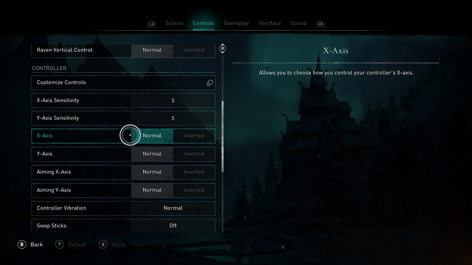 A screenshot showing the Invert joystick options in Assassins Creed Valhalla.