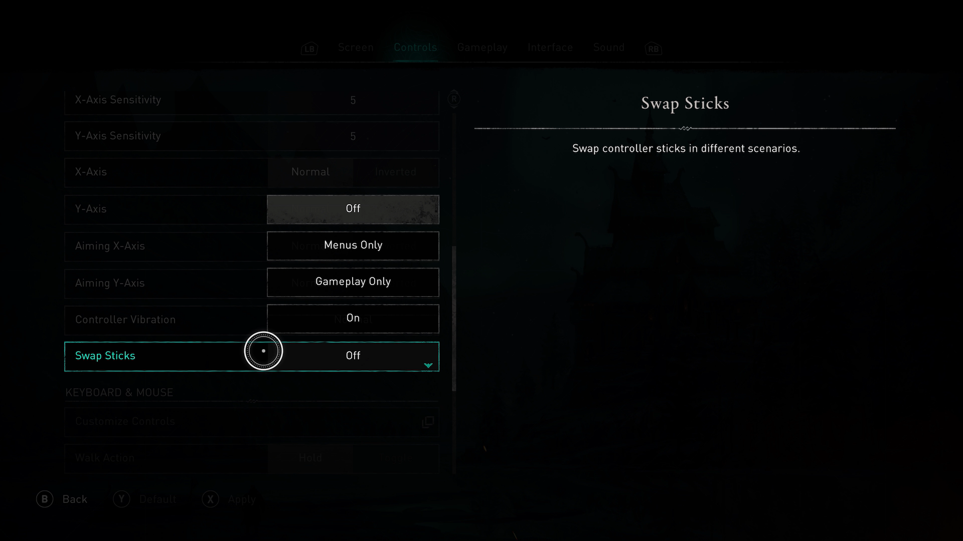 A screenshot showing the Swap Sticks options in Assassins Creed Valhalla