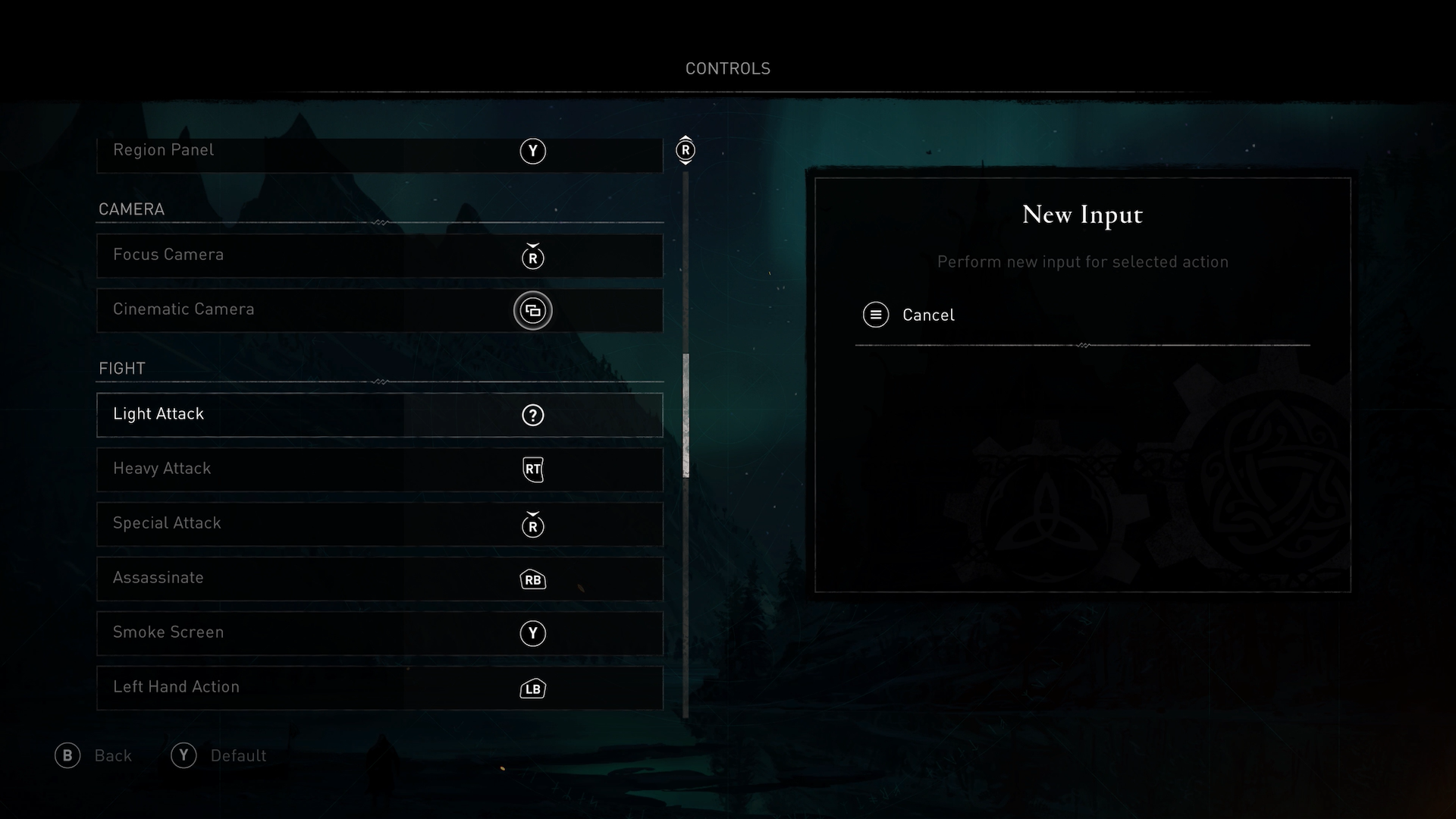 A screenshot showing the button remapping in Asassins Creed Valhalla.