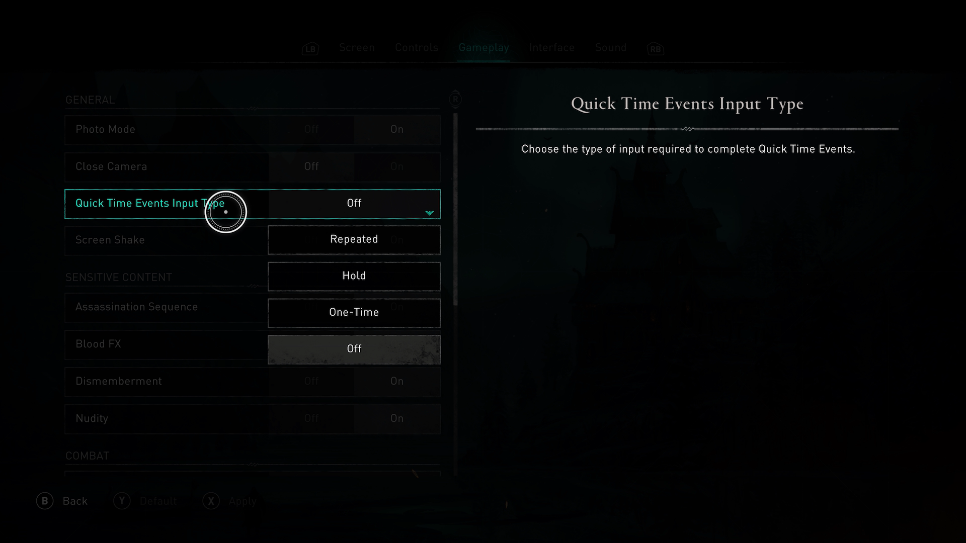 A screenshot showing the Quick Time Events options in Assassins Creed Valhalla.