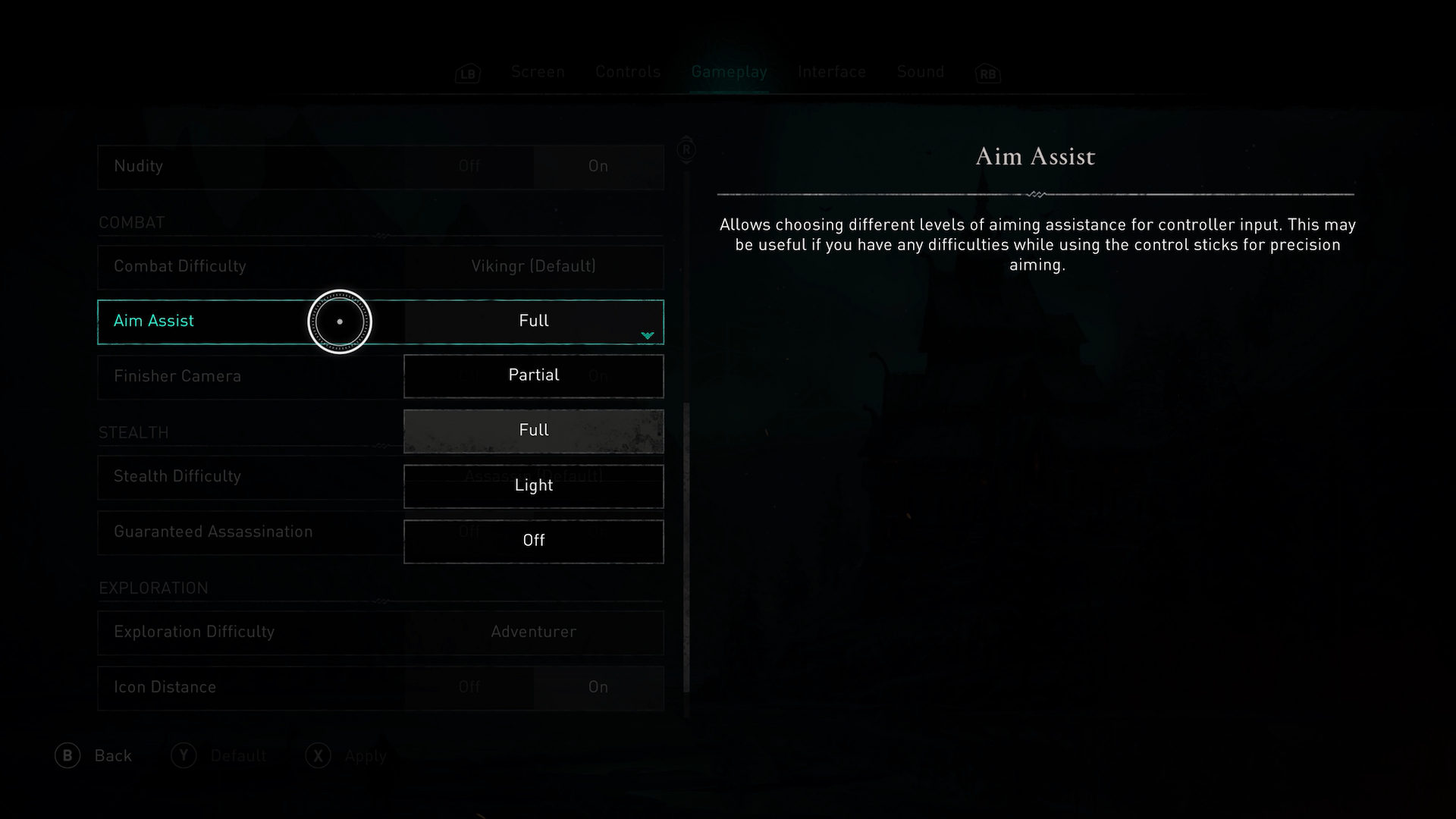 A screenshot showing the Aim Assist options in Assassins Creed Valhalla.