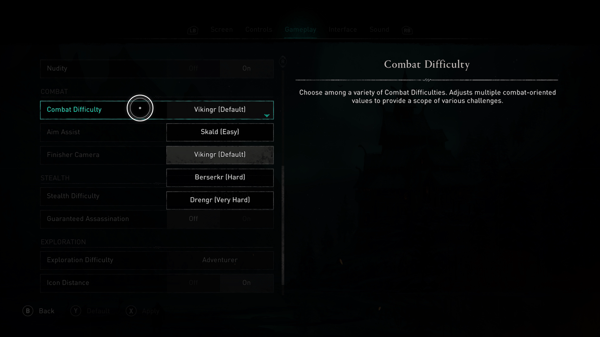 A screenshot showing the Combat Difficulty options in Assassins Creed Valhalla.