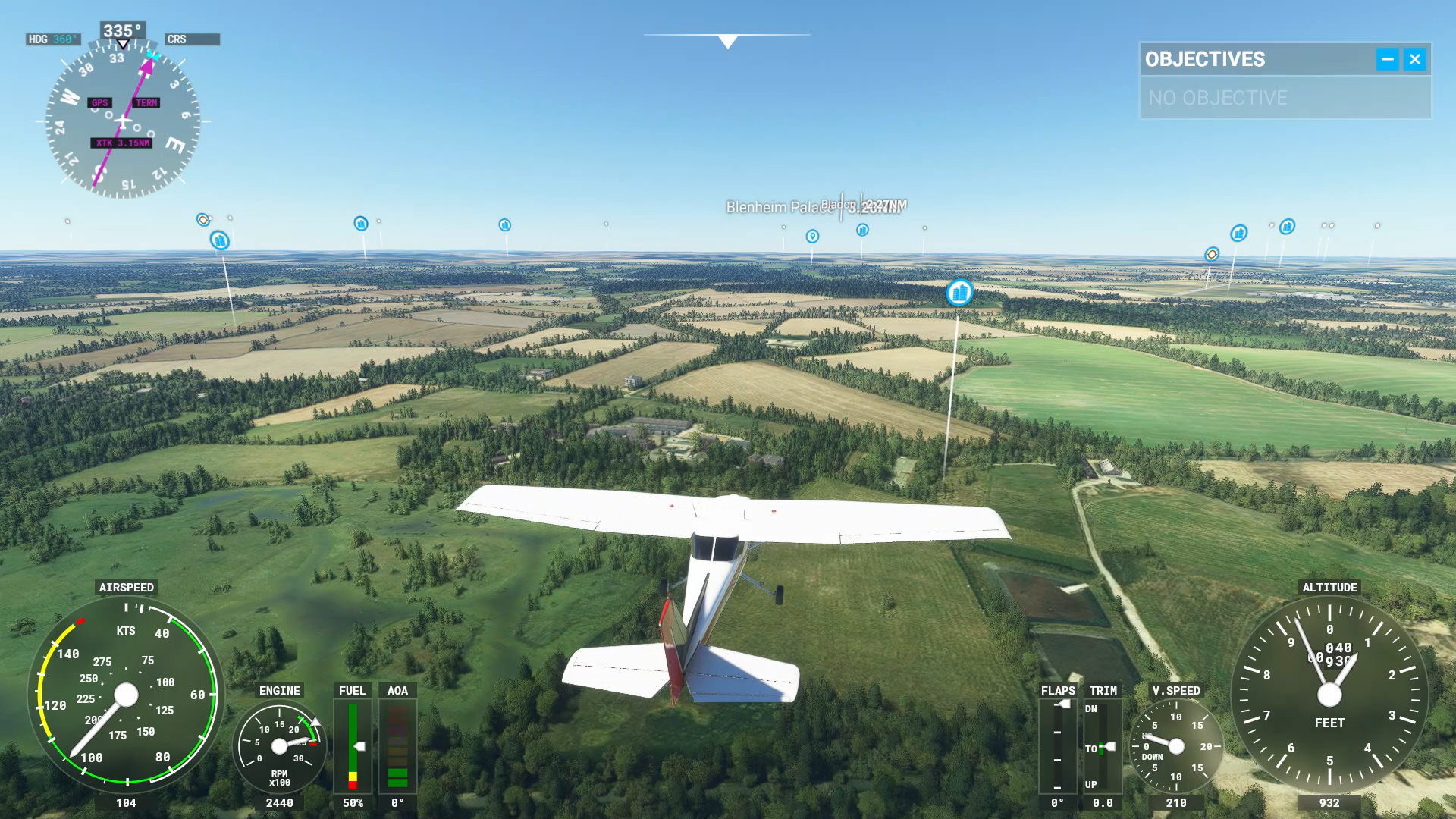 A screenshot from behind a small aircraft flying over Oxfordshire towards Blenheim Palace.