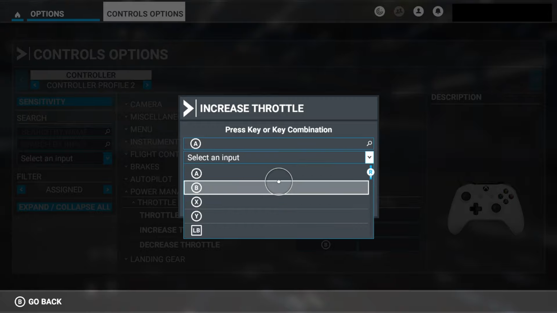 A screenshot showing the controller remapping.