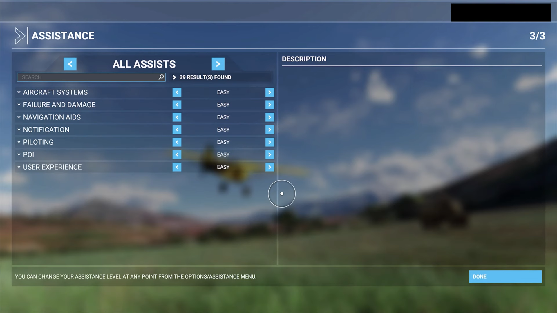 A screenshot showing the All Assists options in menu.