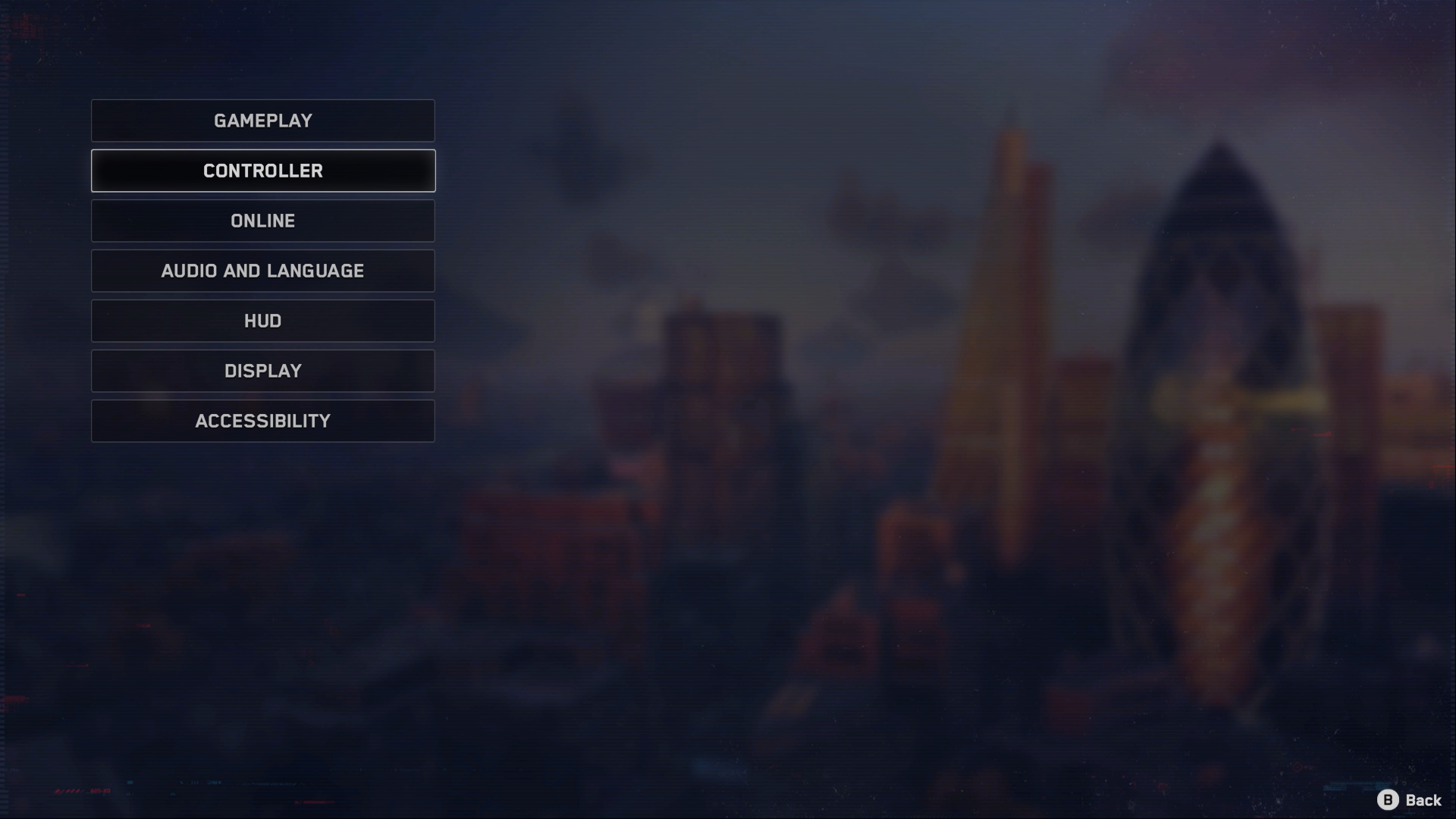 A Screenshot of the Watch Dogs: Legion menu showing access to Gameplay, Controller, Online, Audio and Language, HUD, Display and Accessibility menus.