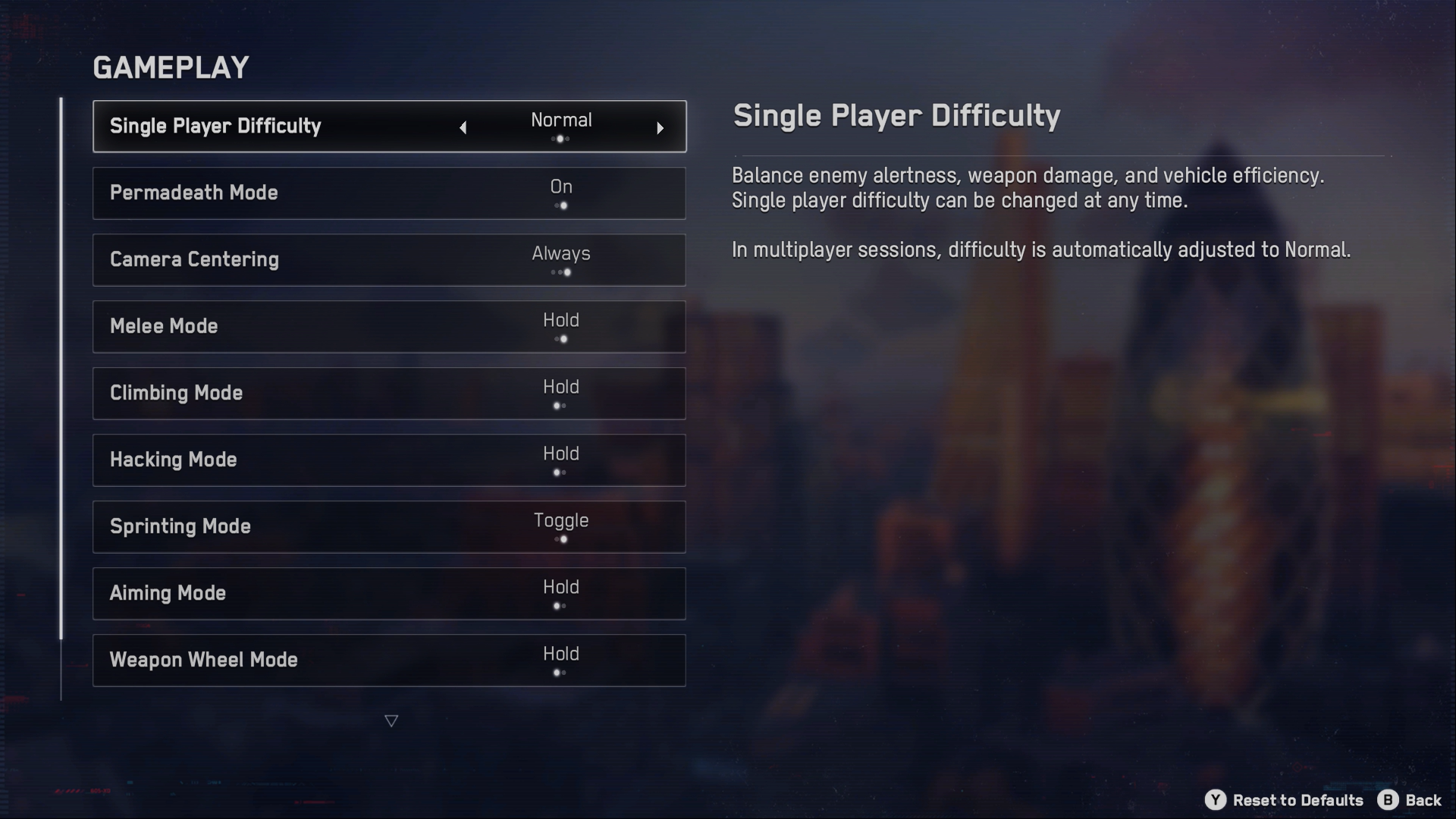 A screenshot of the Watch Dogs: Legion Gameplay menu, with Single Player Difficulty option highlighted currently.