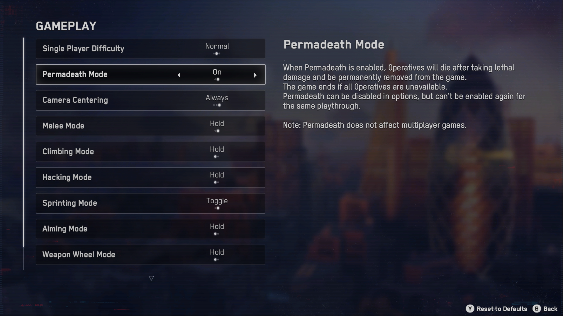 A screenshot of the Watch Dogs legion Gameplay menu, with Permadeath Mode option highlighted currently.