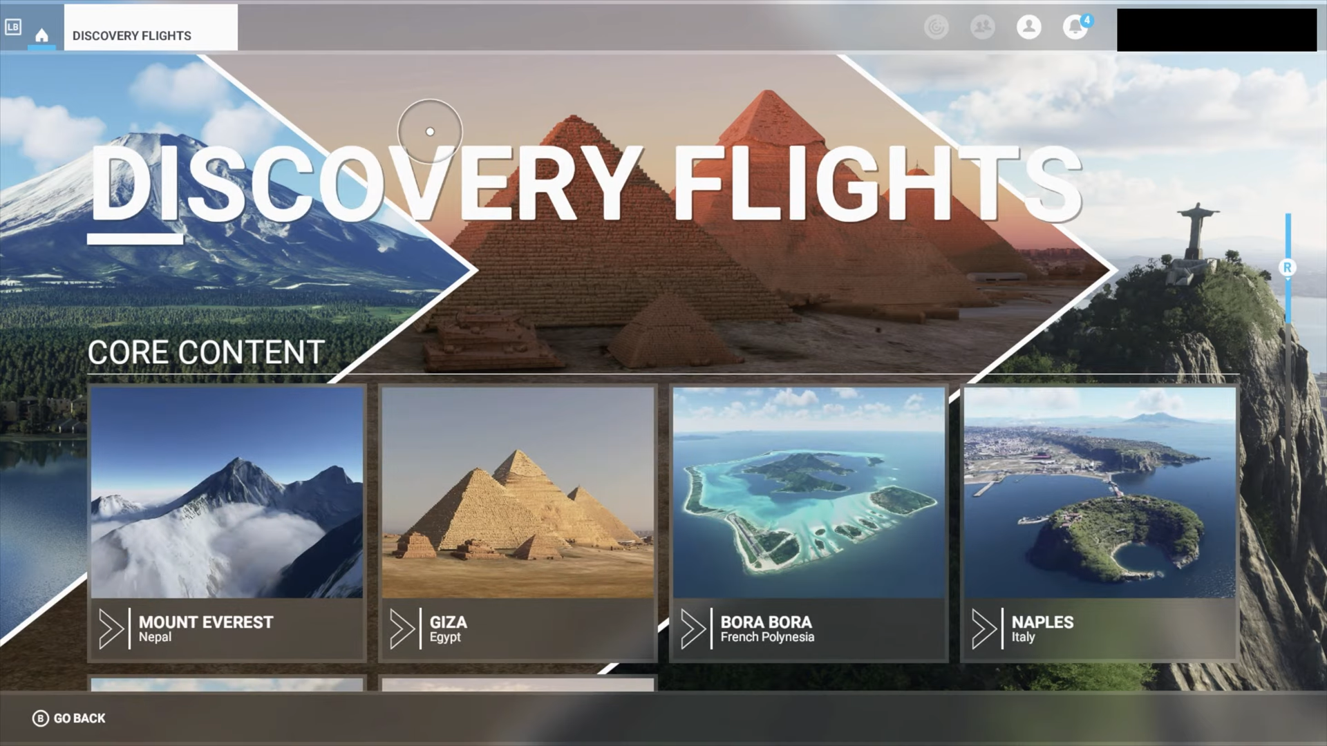 A screenshot showing some of the Discovery Flights locations.