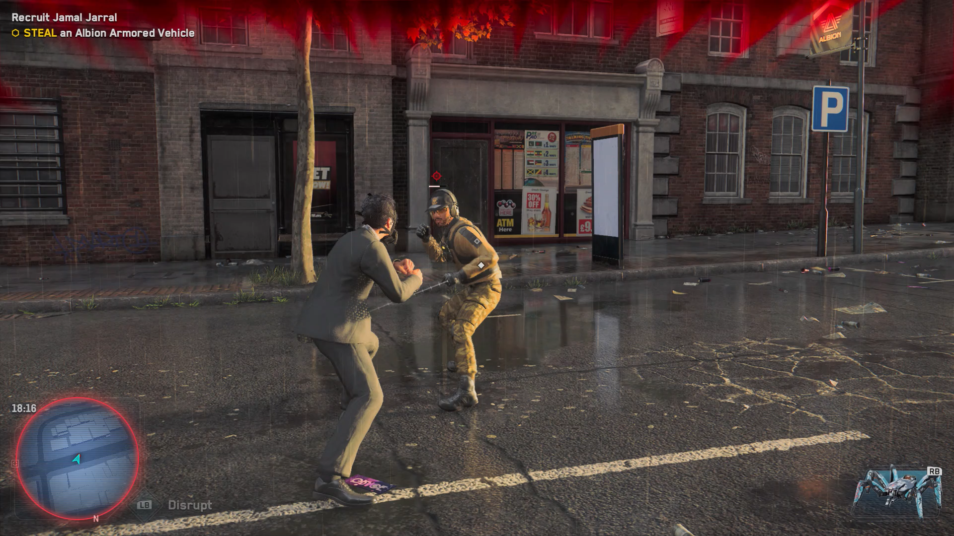 A screenshot of a melee combat scenario in Watch Dogs: Legion, showing two characters in a street.