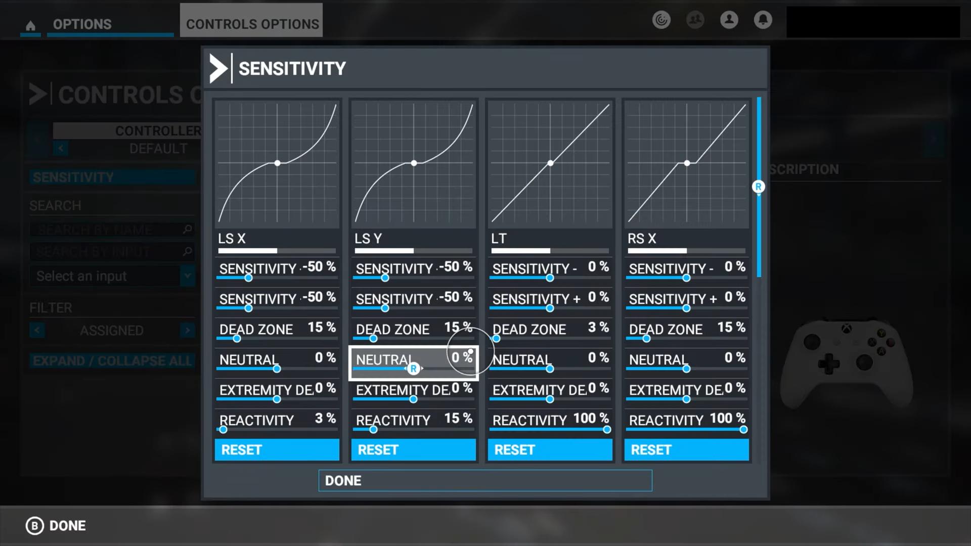 A screenshot of the Sensitivity options.