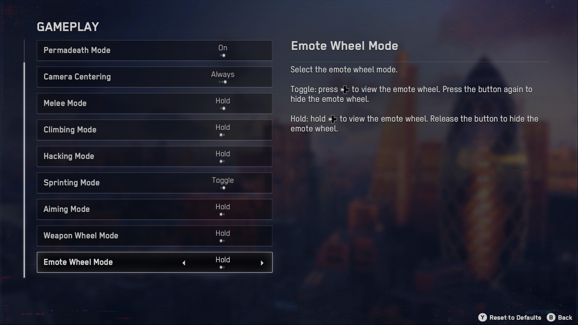 A screenshot of the Watch Dogs: Legion  Gameplay menu with Emote Wheel Mode option highlighted currently.