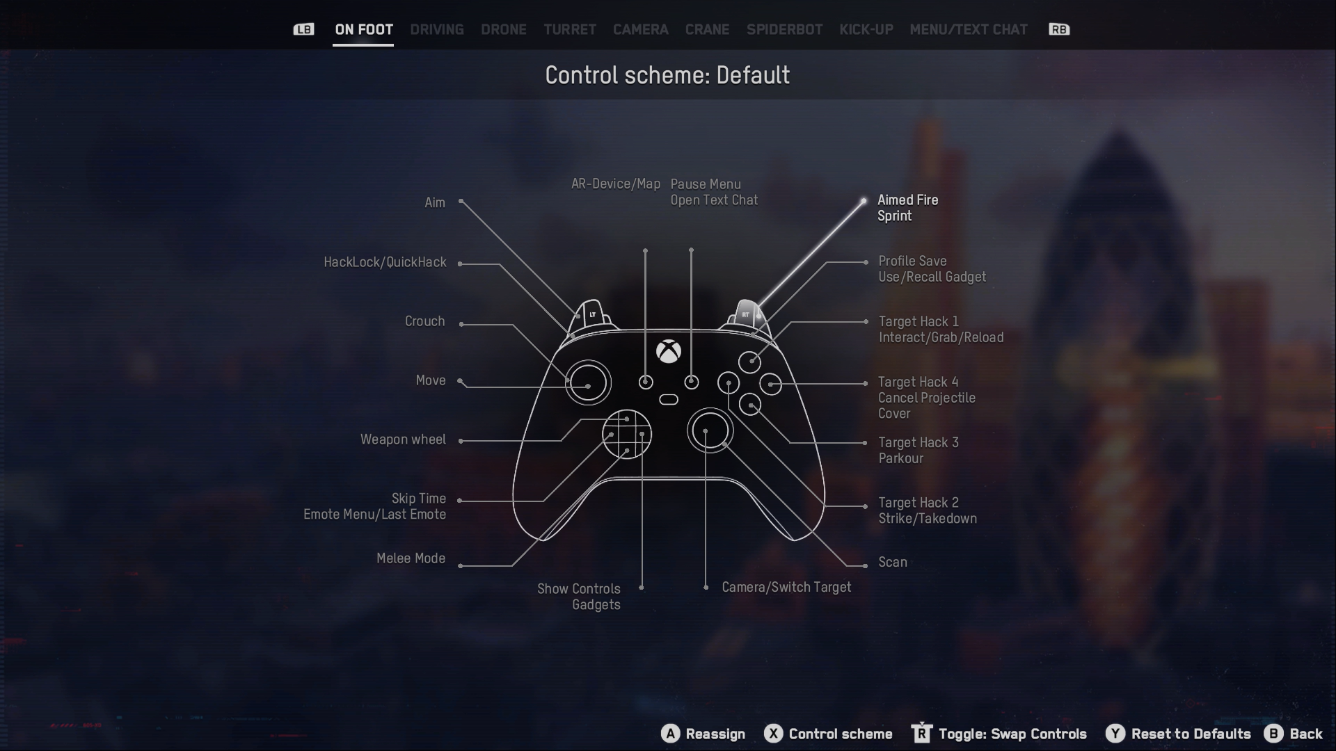 A screenshot of the Watch Dogs: Legion Default controls scheme on a diagram of an Xbox Series controller.