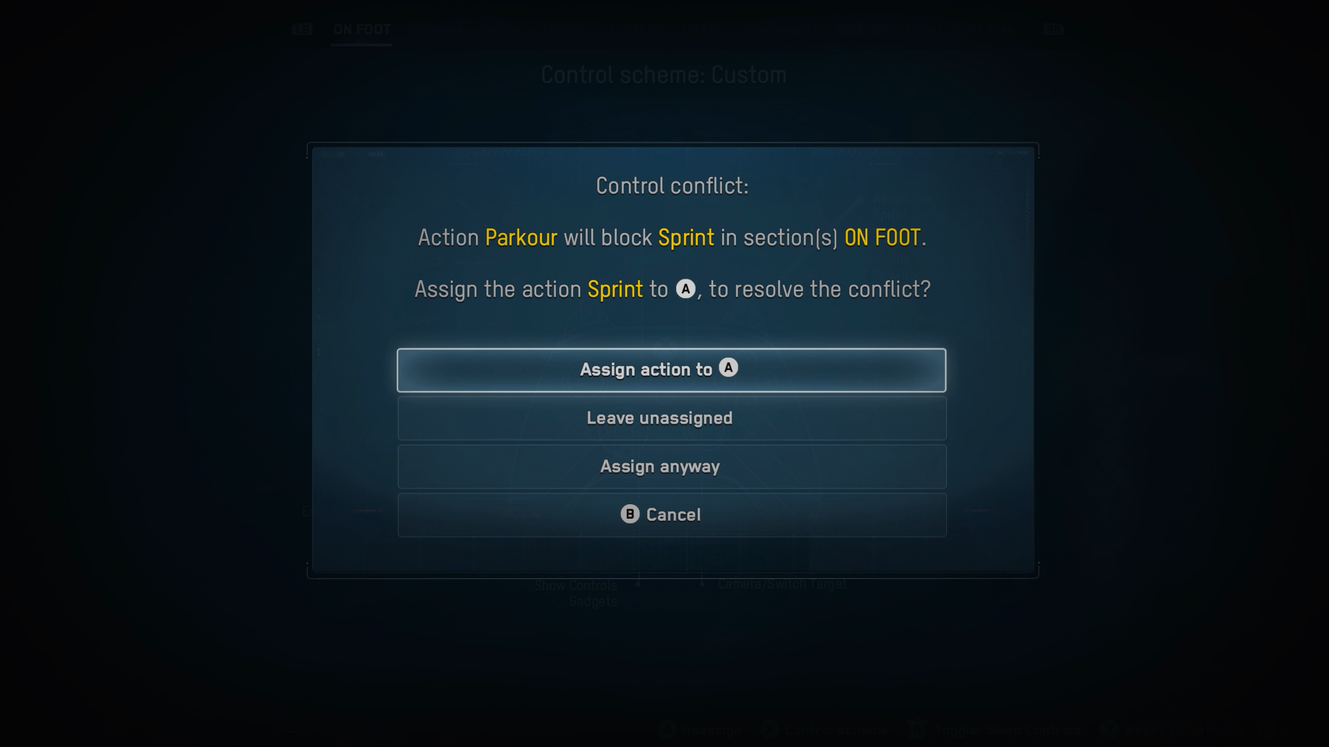 A screenshot of the Watch Dogs: Legion Control conflict screen.