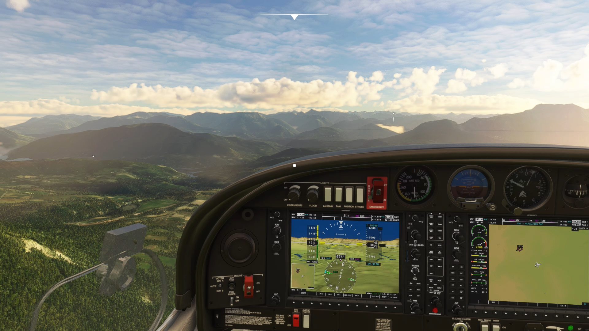 A screenshot showing the view from inside a small aircraft.