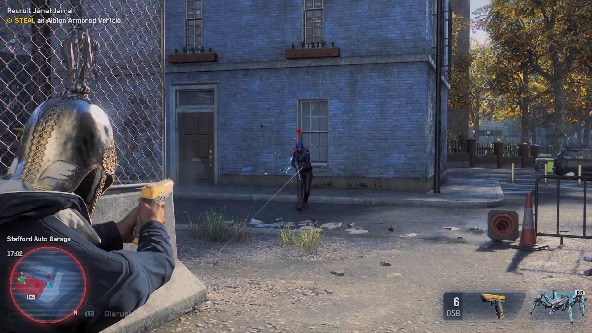 A screenshot of Watch Dogs: Legion combat showing the player controller character in third person viewpoint with a gun raised and aimed at an character in the street coming towards them.