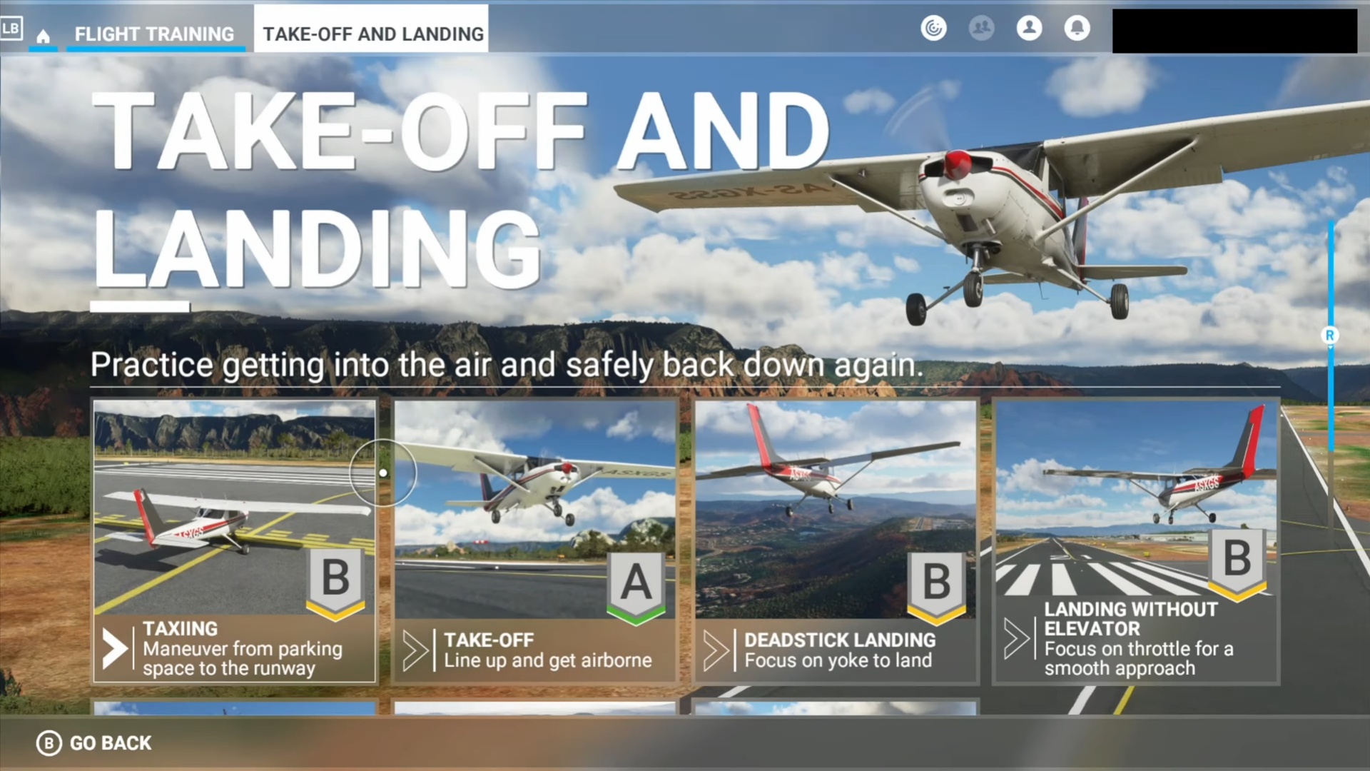 A screenshot showing some of the Take-Off and Landing Flight Training missions.