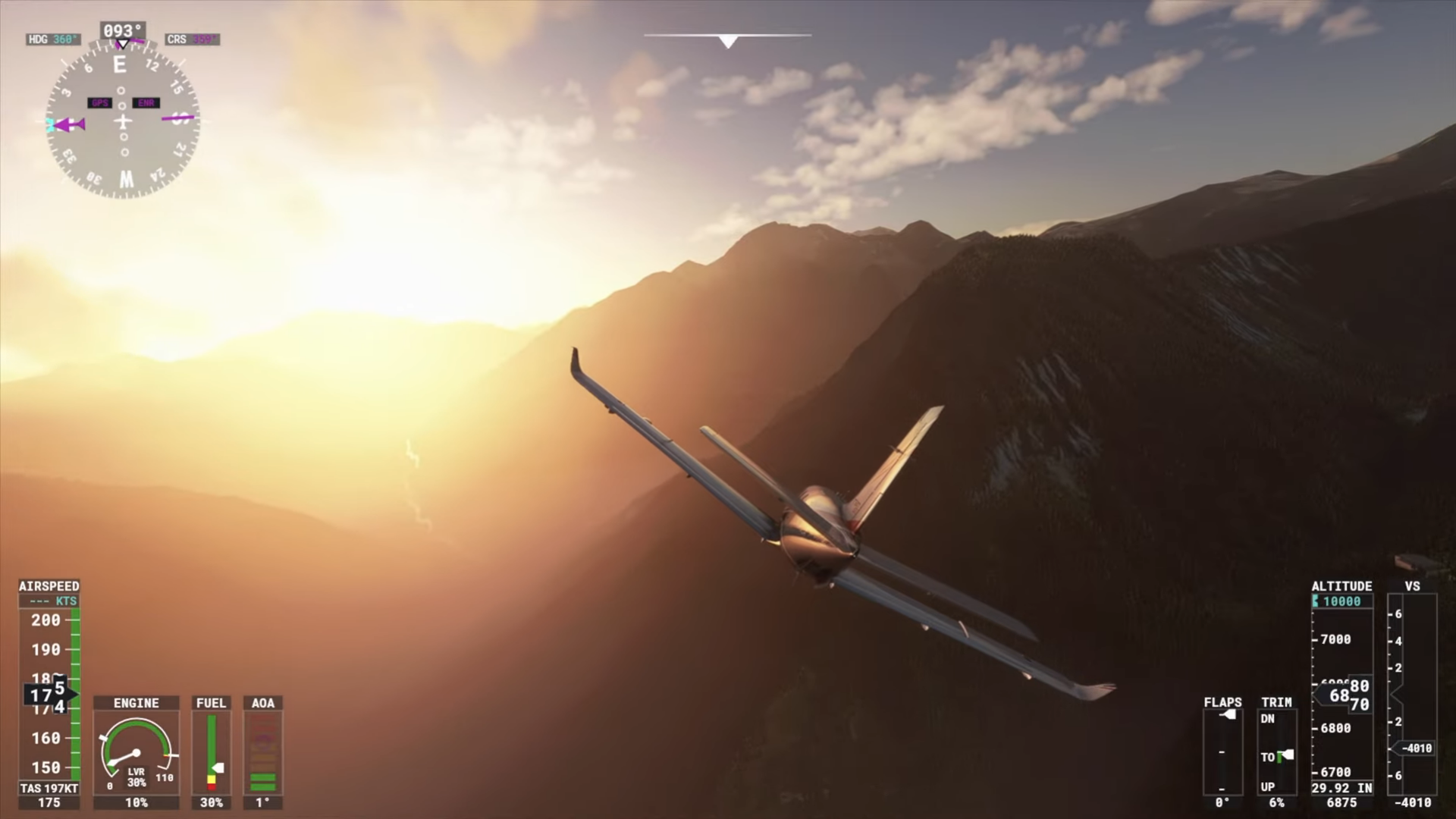 A screenshot of a small aircraft shown from behind flying over mountains.