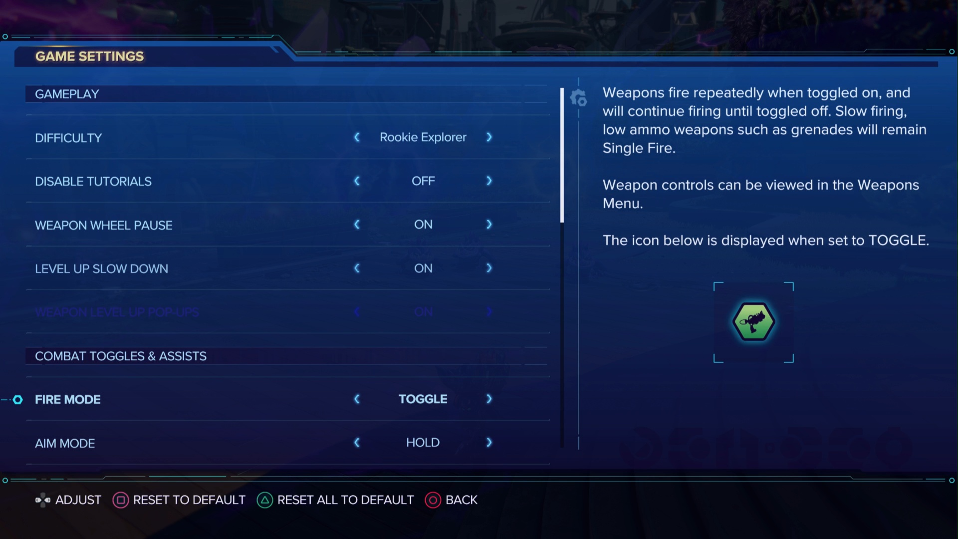 A screenshot showing the game settings