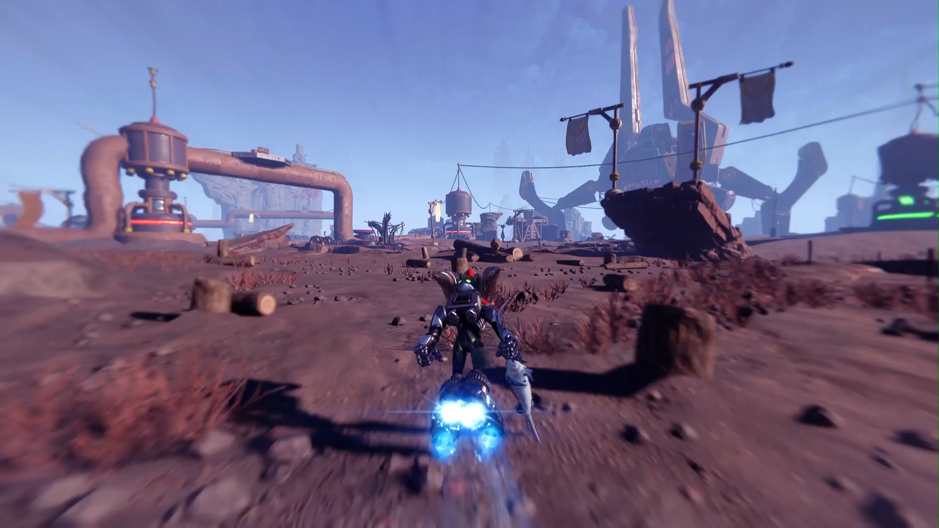 A screenshot of Ratchet using the Hoverboots in a desert